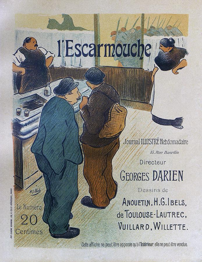1893 Painting - L Escarmouche, 1893 French Vintage Poster by Henri Gabriel Ibells