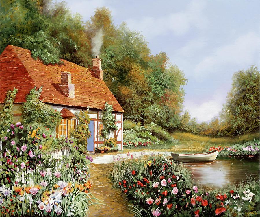 Cottage Painting - La Barca E I Fiori by Guido Borelli