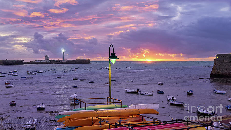 La Caleta Beach at Sunset Cadiz by Pablo Avanzini