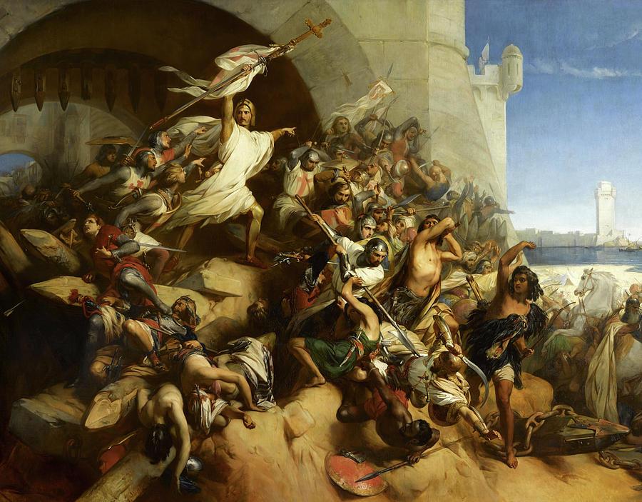 Knights Hospitaller Painting - La Defense De Lile De Rhodes Par Foulques De Villaret by Gustaf Wappers