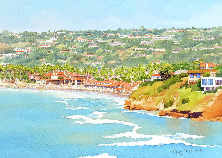 La Jolla Shores from Coast Walk by Mary Helmreich