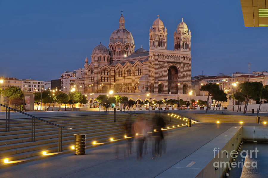 La Major Cathedral in Marseille at Night by Angelo DeVal