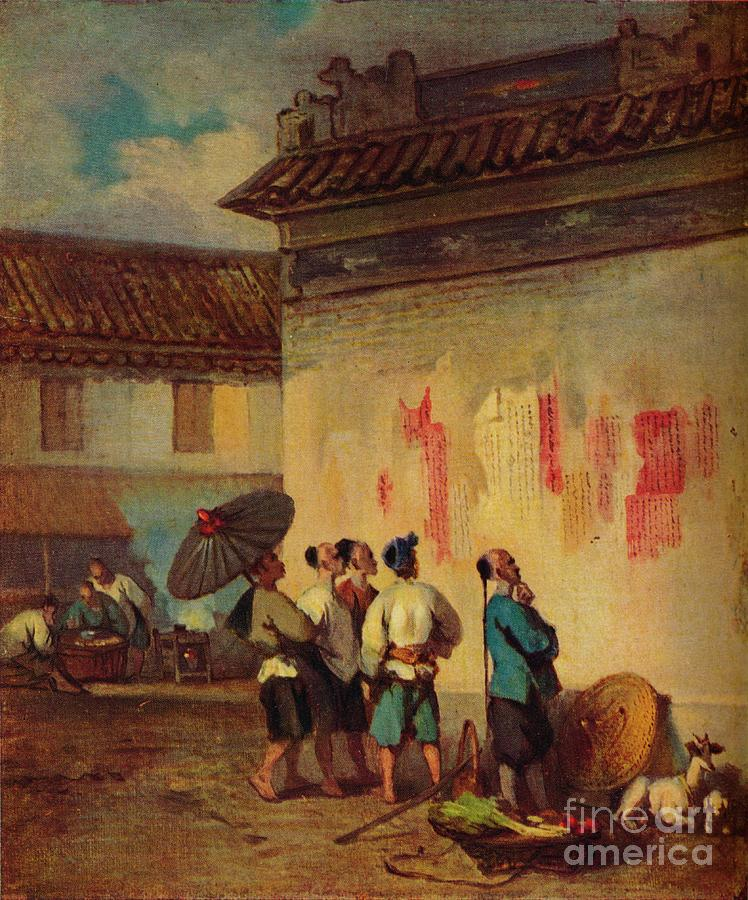 Labourer Reading A Proclamation, Macao Drawing by Print Collector