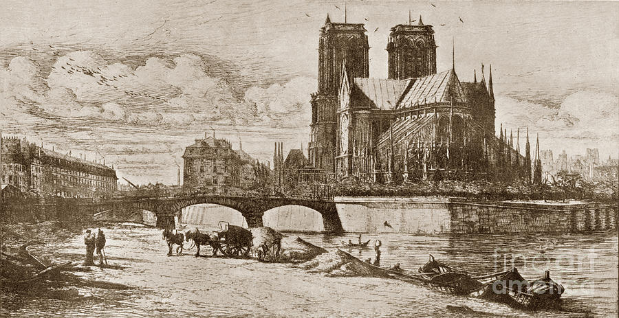 L'Abside de Notre Dame Paris, France 1854 by Charles Meryon 1821-1868 by California Views Archives Mr Pat Hathaway Archives