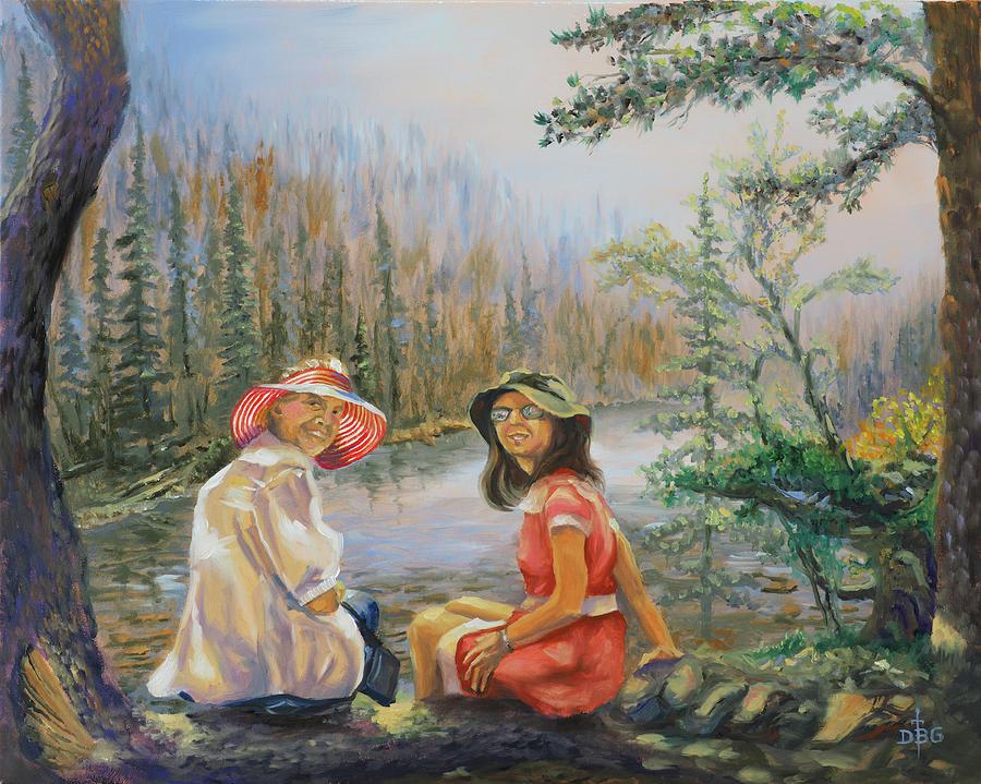 Ladies at Lake by David Bader