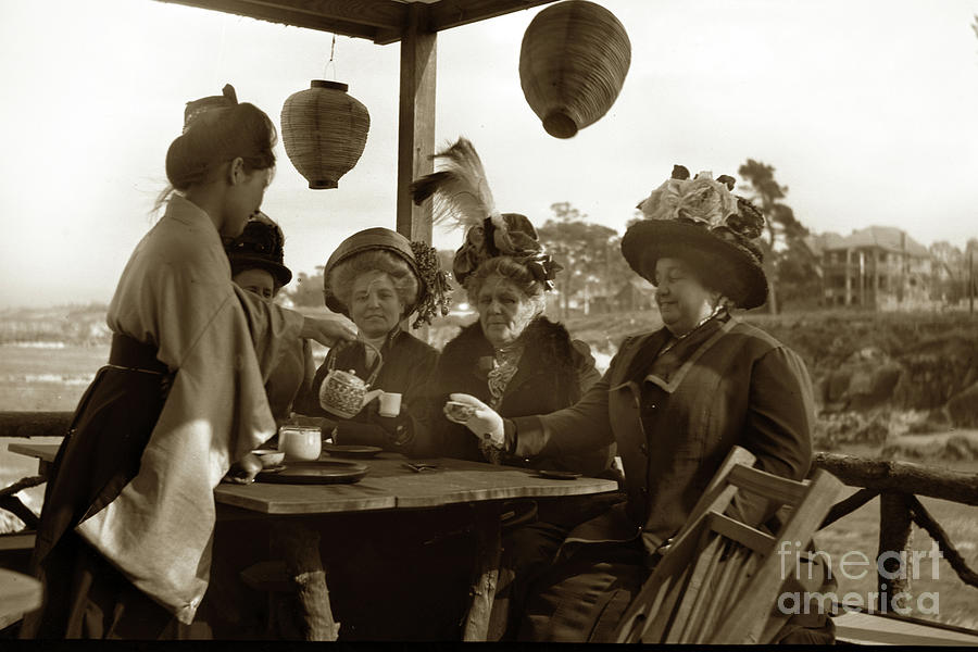Ladies having Tea in the  interior of the Japanene Tea House at  by California Views Archives Mr Pat Hathaway Archives