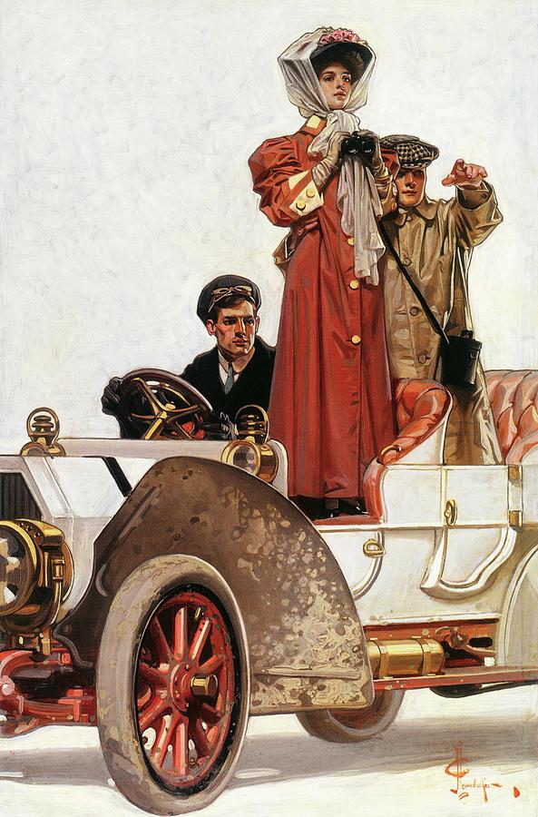 Joseph Christian Leyendecker Painting - Lady And Car - Digital Remastered Edition by Joseph Christian Leyendecker