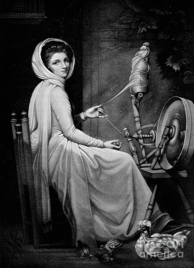 Lady Hamilton As The Spinstress Drawing by Print Collector