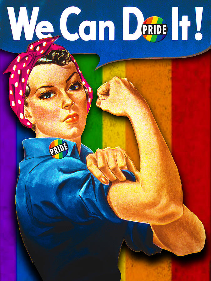 Lady Human Right LGBT Pride Rosie The Riveter T Shirt for Women Men by Tony Rubino