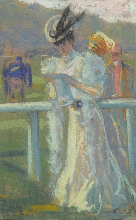 Lady Reading Racing Form Horse Racing 1930 by Redemption Road