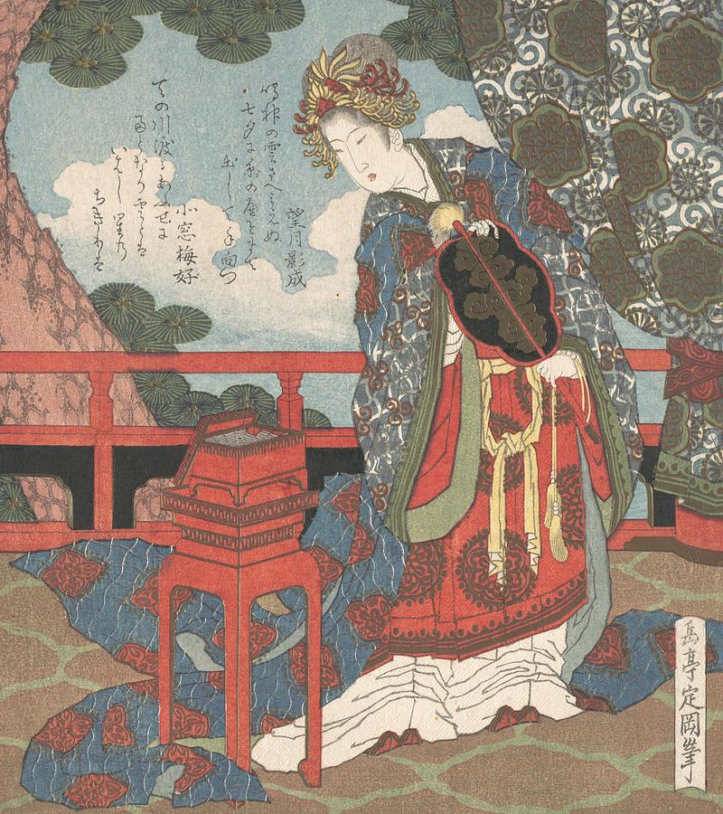 Lady with Fan Standing on Verandah by Yashima Gakutei
