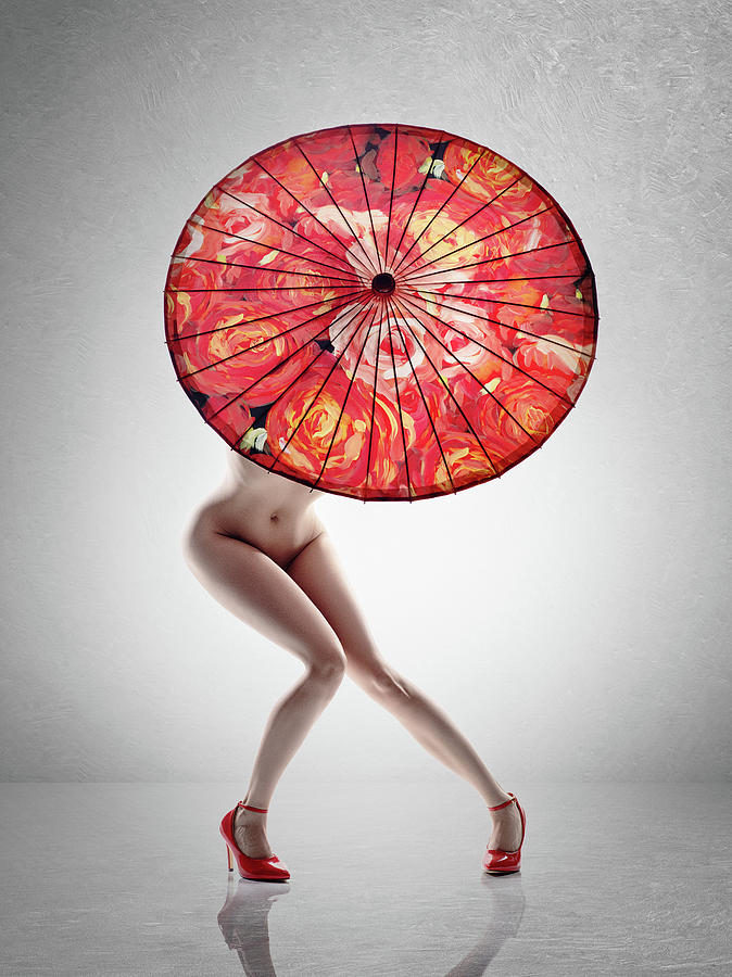 Lady With Red Shoes And Parasol Photograph
