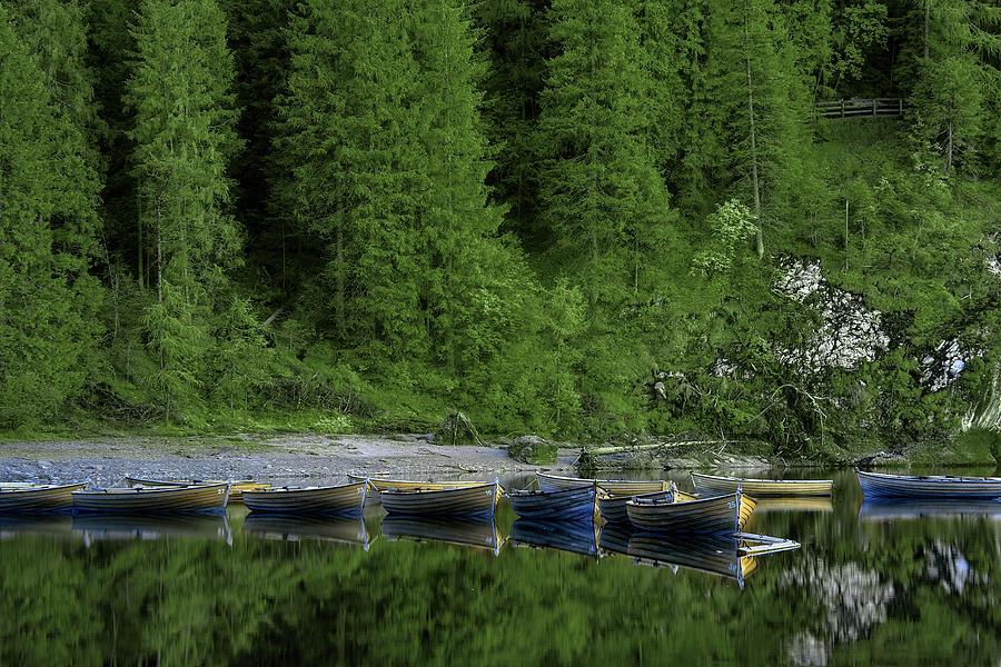 Lago De Braies Boats by Jon Glaser