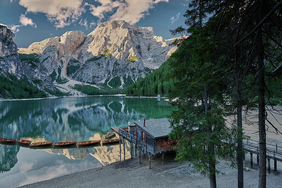 Landscape Photograph - Lago Di Braies Boathouse by Jon Glaser
