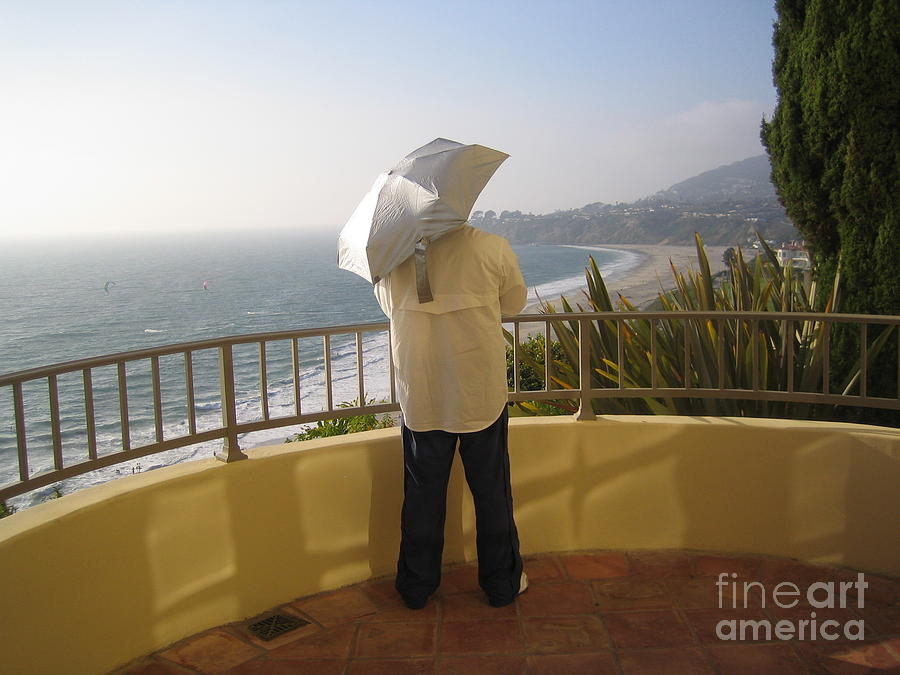 Laguna Beach Orange County California Gorgeous Sunny Summer Afternoon Ocean View Man Umbrella 2008 by John Shiron