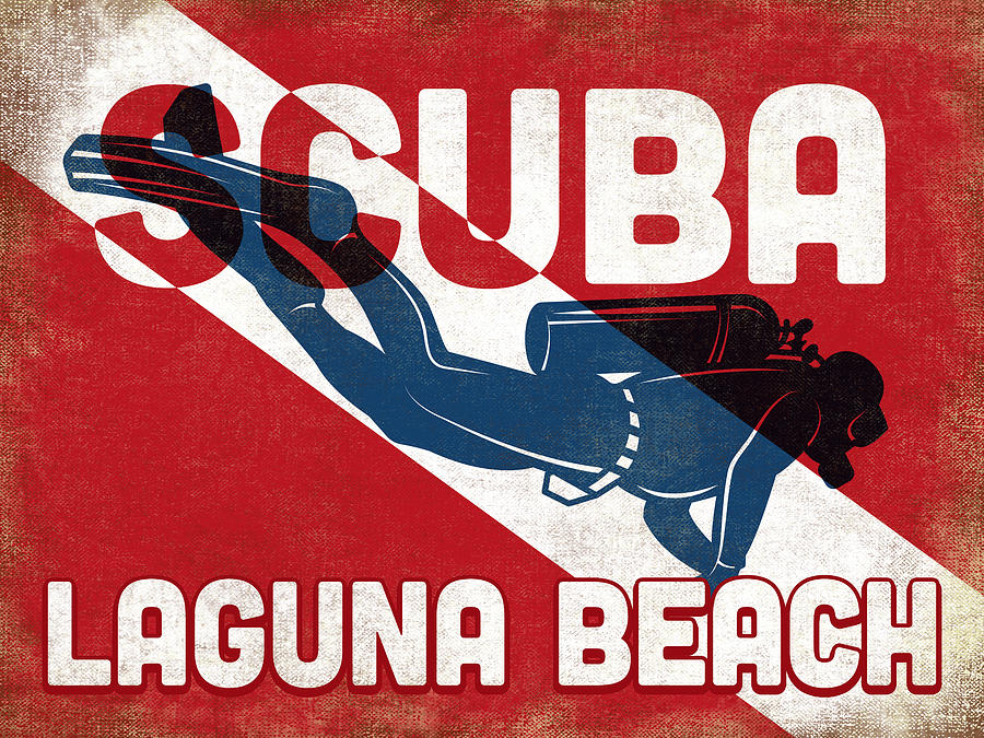 Laguna Beach Digital Art - Laguna Beach Scuba Diver - Blue Retro by Flo Karp