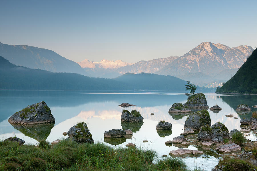 Scenic Photograph - Lake Altaussee With Glacier Dachstein by 4fr