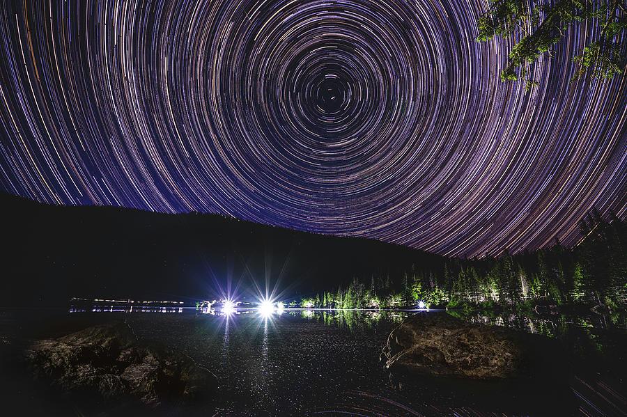 Lake Bear - Star Trails by Mati Krimerman