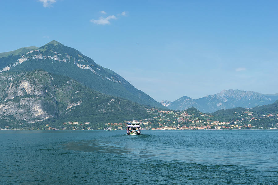 Lake Como Gems - a Ferryboat Approaching Charming Menaggio on Lago di Como in Lombardy Italy  by Georgia Mizuleva