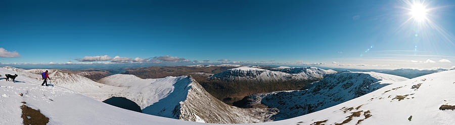 Lake District Snow Summit Sunburst Photograph by Fotovoyager