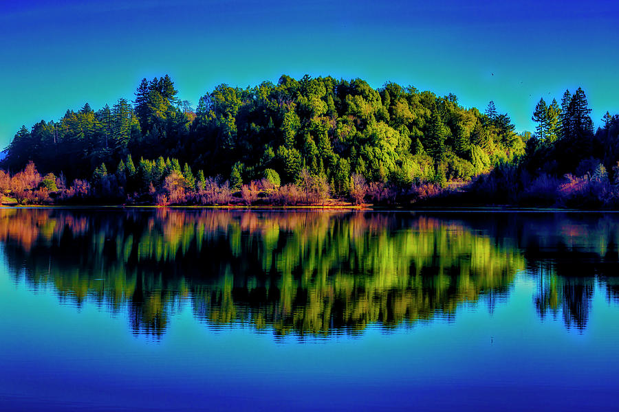 Tree Line Photograph - Lake Double Reflection by Garry Gay