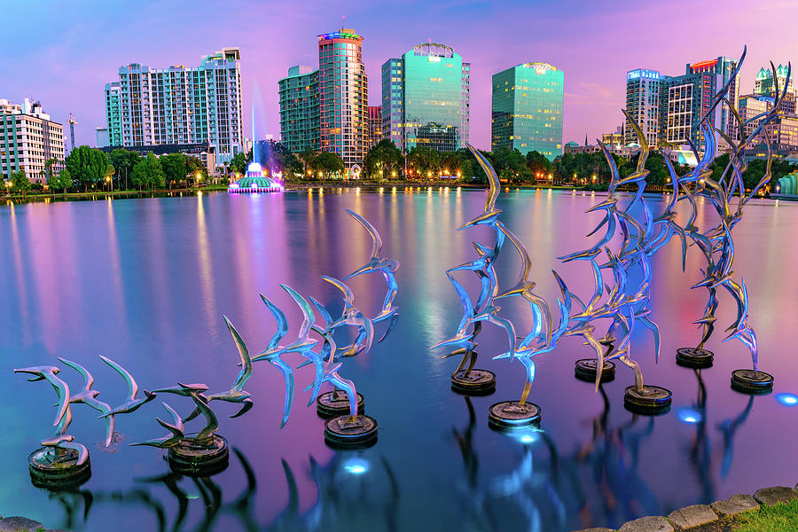 Lake Eola Take Flight and Orlando Skyline at Dusk by Gregory Ballos