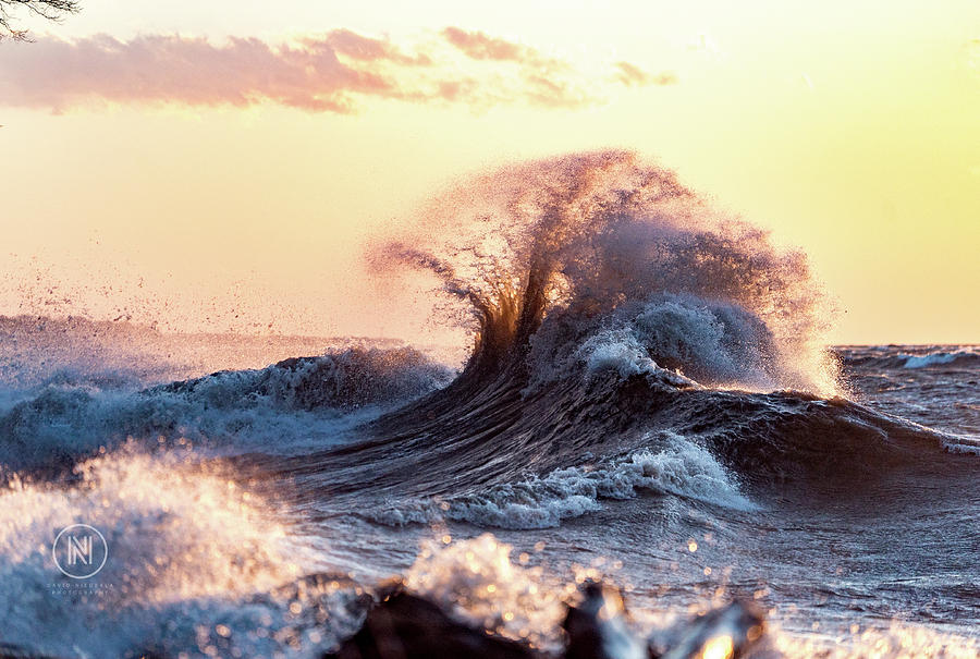 Waves Photograph - Lake Erie Waves by Dave Niedbala