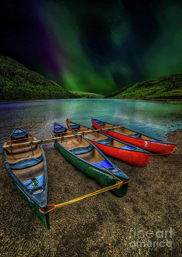 Lake Photograph - lake Geirionydd Canoes by Adrian Evans
