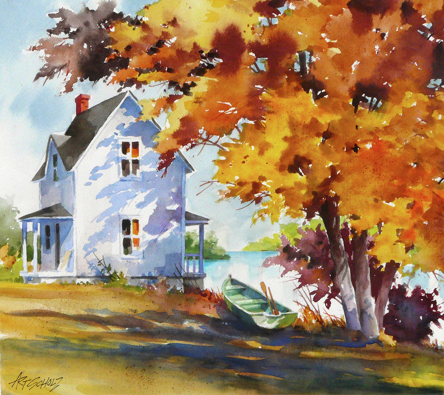 Lake House Painting by Art Scholz