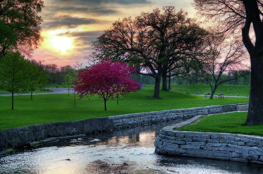 Lake Leota Park Sunset - Evansville Wi by Peter Herman