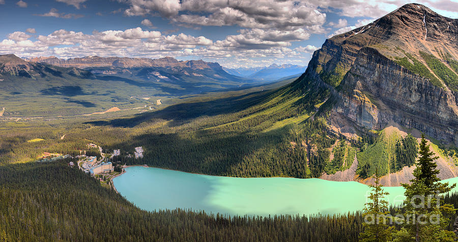 Lake Louise Aerial Mountain View by Adam Jewell