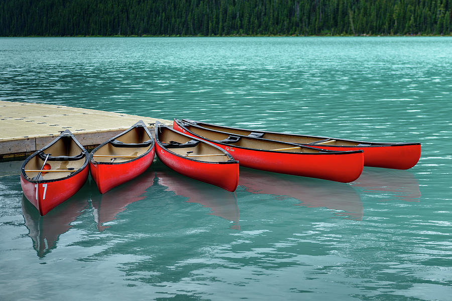 Banff National Park Photograph - Lake Louise Canoes by Ian Robert Knight