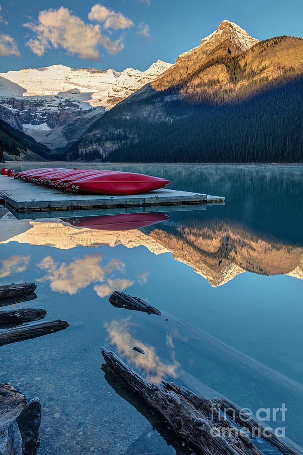 Glaciers Photograph - Lake Louise Canoes In Banff National by Pierre Leclerc