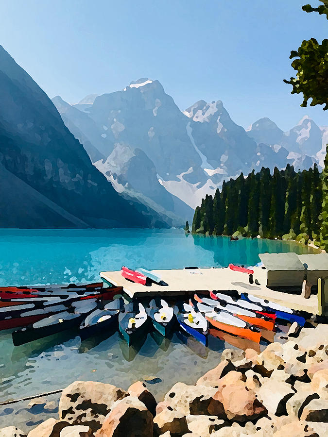 Moraine Lake Canoes by Tom Johnson