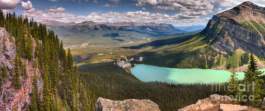 Lake Louise Little Beehive Afternoon Panorama by Adam Jewell