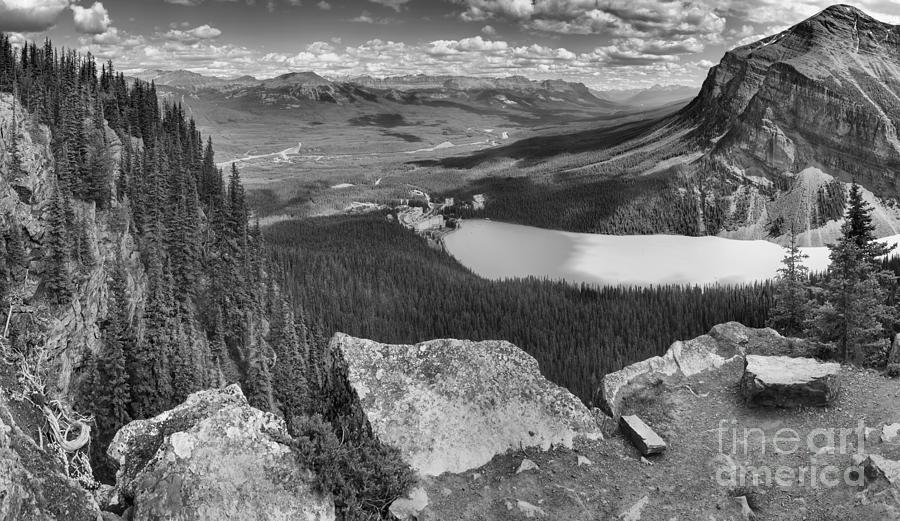 Lake Louise Little Beehive Panorama Black And White by Adam Jewell