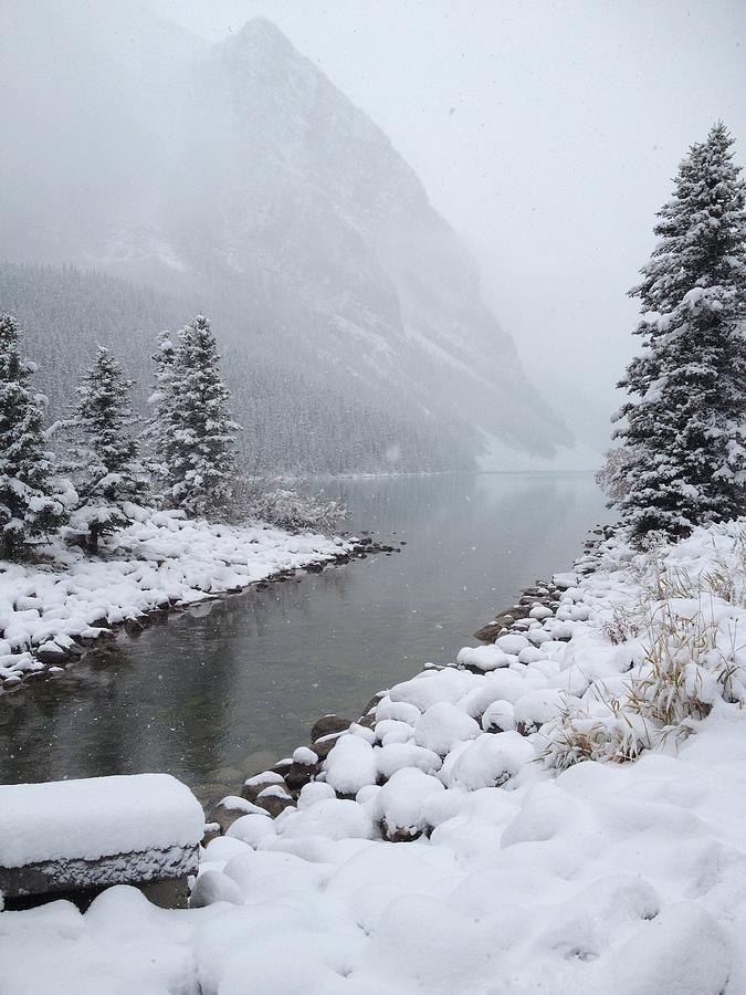 Gray Photograph - Lake Louise Winter by Norman Burnham