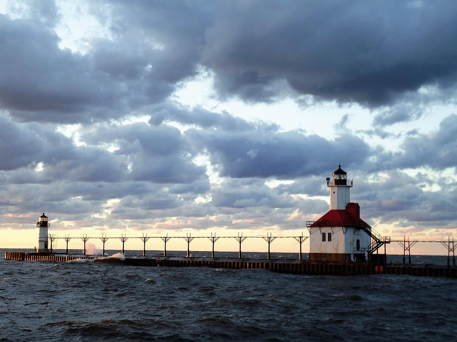 Water Photograph - Lake Michigan Lighthouse by Katherine Taibl