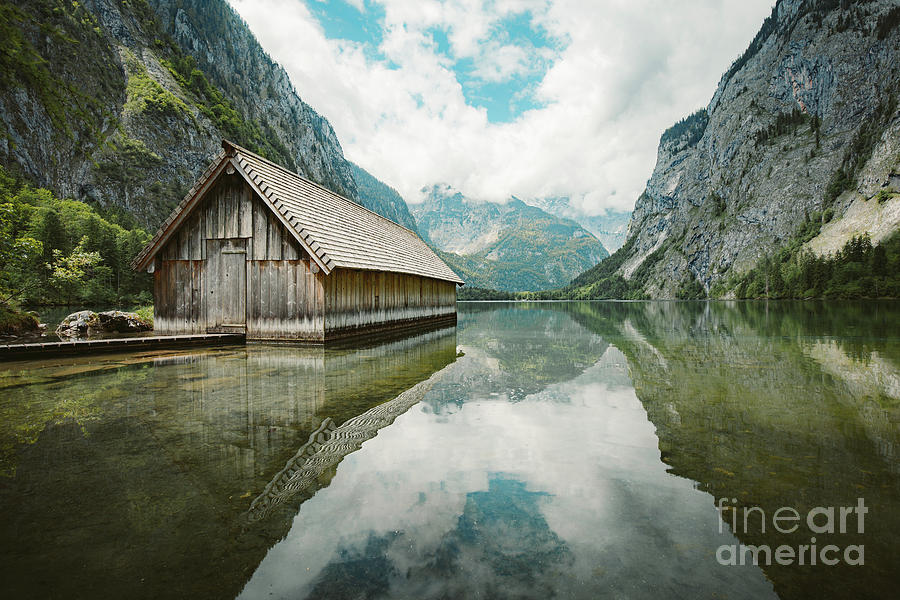 Alpine Photograph - Lake Obersee Boat House by JR Photography