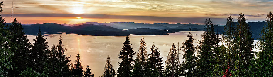 Nature Photograph - Lake Pend Oreille Panoramic Gold by Leland D Howard