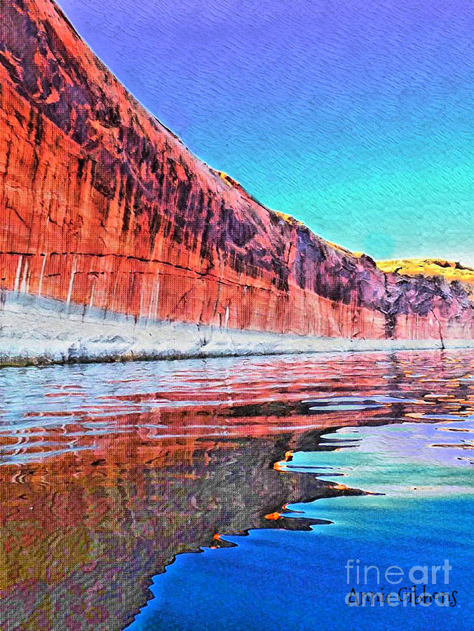 Orange Digital Art - Lake Powell With Cliff Reflections by Annie Gibbons