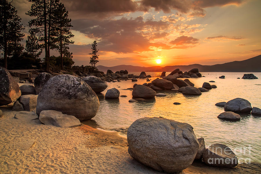 Sunrise Photograph - Lake Tahoe At Sunset by Topseller