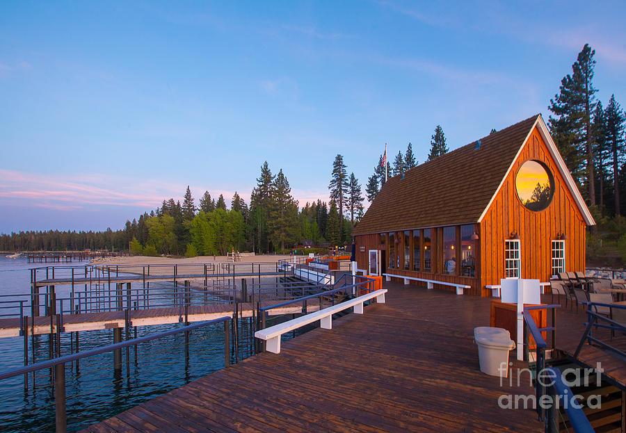 Lake Photograph - Lake Tahoe Cabin on the Lake Sunset by Eddie Hernandez