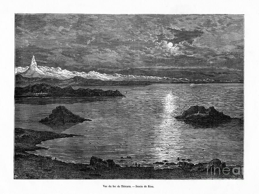 Lake Titicaca, South America, 19th Drawing by Print Collector