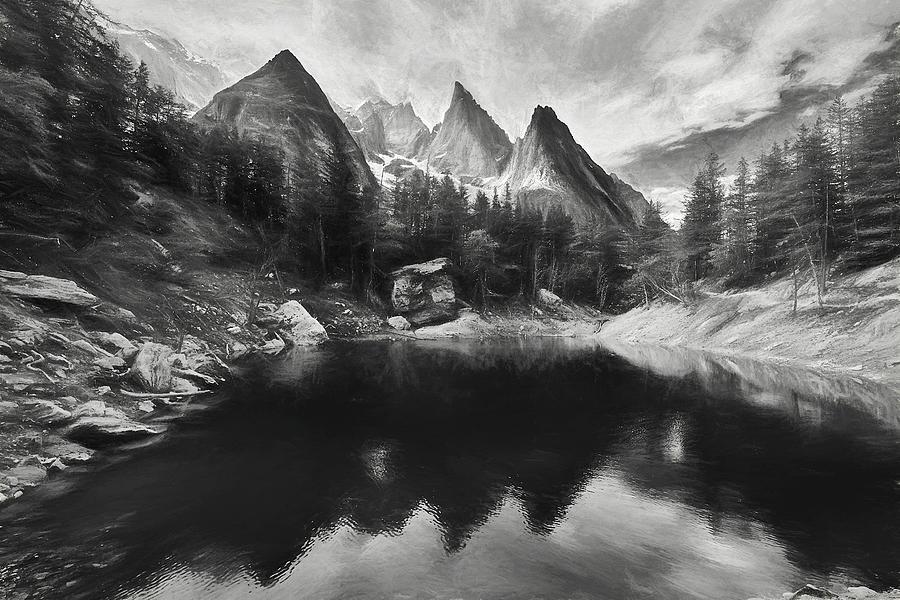 Lago Verde Digital Art - Lake Verde In The Alps IIi by Jon Glaser