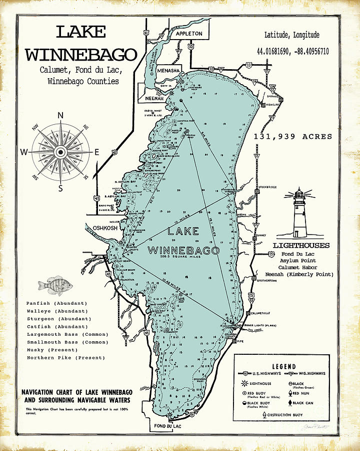 Lake Winnebago Wisconsin Map Digital Art by Jean Plout on