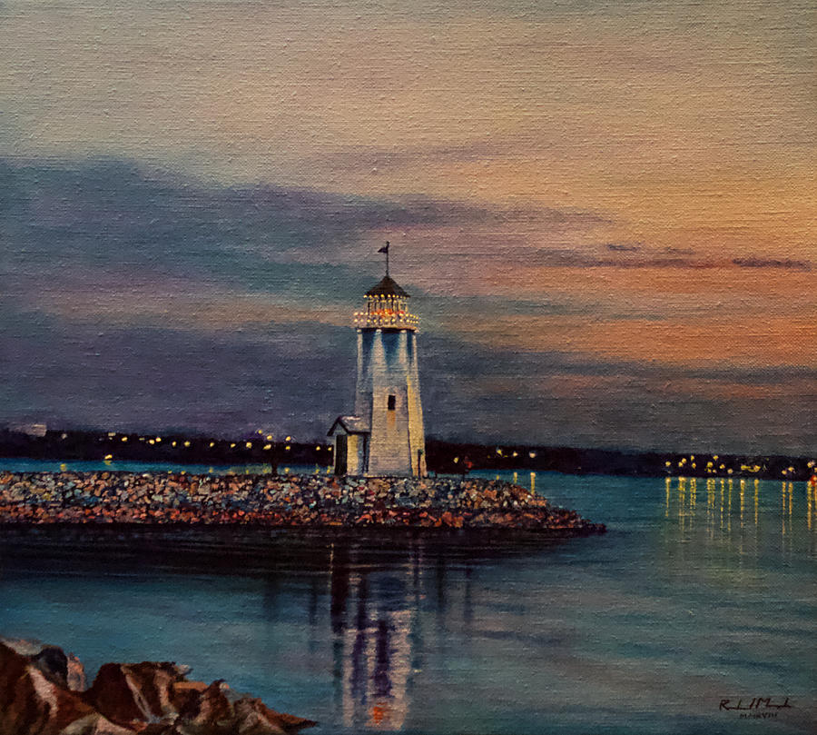 Lighthouse Painting - Lakefront Lighthouse No. 1 by Roland Miguel