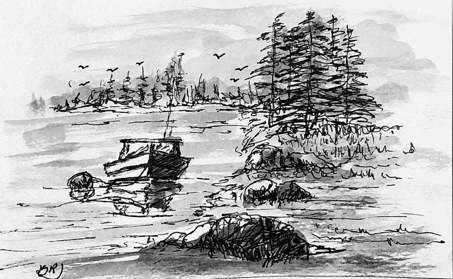 Lakeside Mooring - Noir by Barry Jones