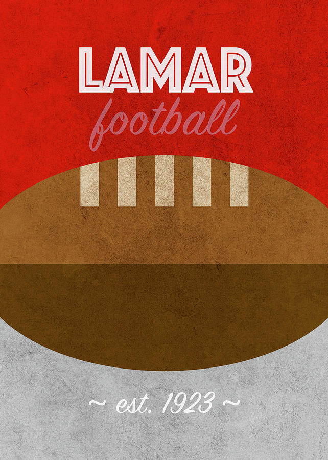 Lamar Mixed Media - Lamar Football College Sports Retro Vintage Poster by Design Turnpike