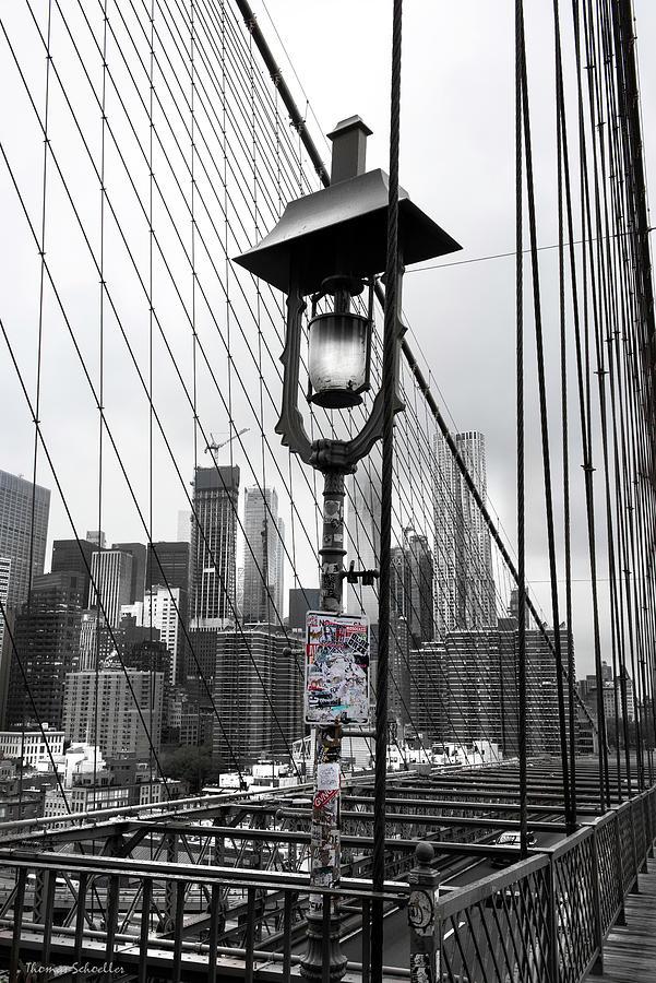 Lamp Post on Brooklyn Bridge by T-S Fine Art Landscape Photography